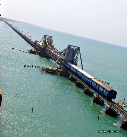 TRAIN ON PAMBAN BRIDGE